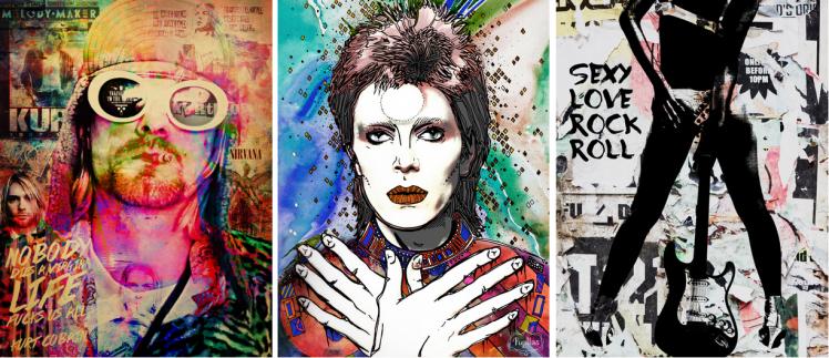 1) Kurt Cobain 1 - Artista: Russ | 2) David Bowie Pupillas - Artista: Pupillas | 3) Sexy love rock n' roll - Artista: Russ / Reprodução Urban Arts