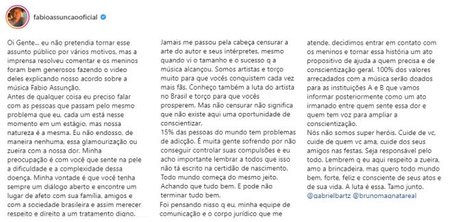 Imagem de print do post do Fabio Assunção sobre música que faz referência ao seu alcoolismo
